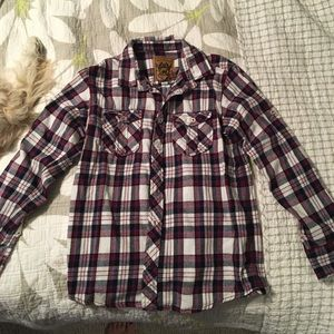 Red camel boys button up plaid long sleeve shirt